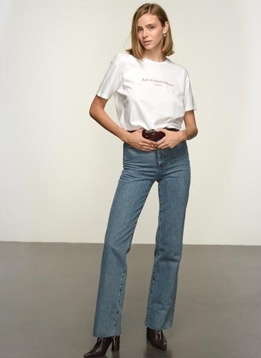 NGSTYLE Kadın Baskılı  Tişört NGKSS21TS0011 Beyaz